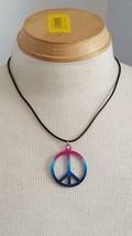 "18"" Spray Paint Rainbow Peace Sign Pendant Cord Necklace, Pink Blue Purple,Metal - $5.93"