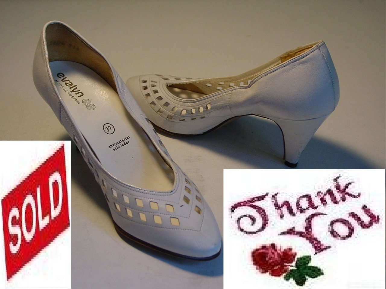 Vintage designer white bridal leather women heel shoes .2