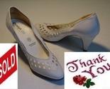 Vintage designer white bridal leather women heel shoes .2 thumb155 crop
