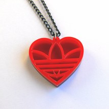 Heart shaped Adidas necklace Laser cut red acrylic - $16.66