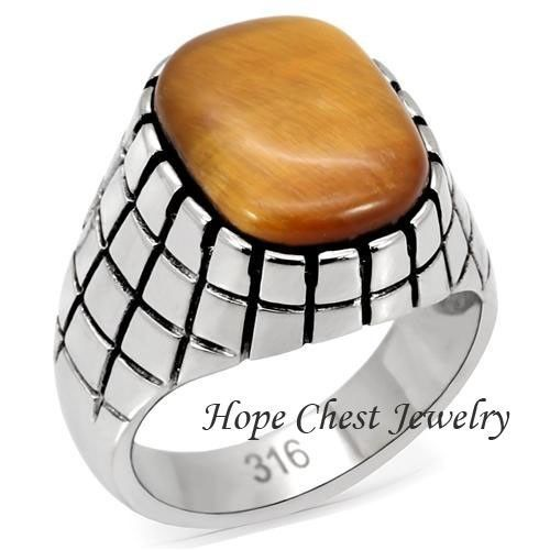 Primary image for MEN'S ENGRAVED STAINLESS STEEL SOLITAIRE SYNTHETIC TIGER'S EYE RING SIZE 8 - 13