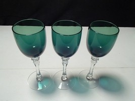 3 KELLY GREEN CRYSTAL WINE STEMS~~unknown maker~~quality - $14.95