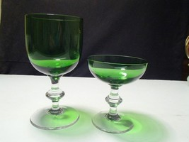2 KELLY GREEN CRYSTAL WINE STEMS~~unknown maker~~quality - $9.99