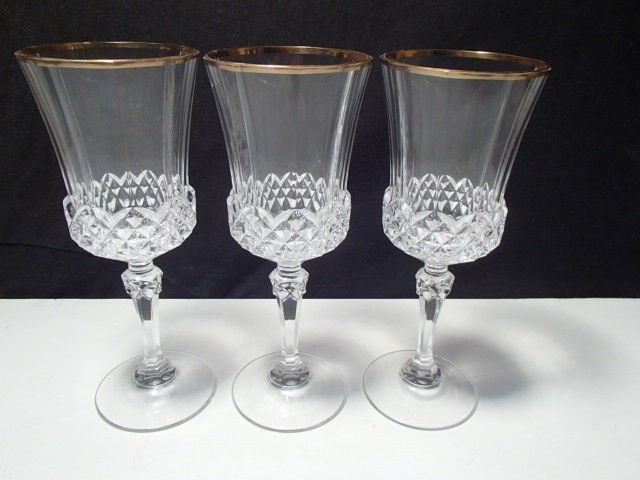 Primary image for 3 CRISTAL d'ARQUES VALENCAY GOLD RIM WINE GOBLETS~~