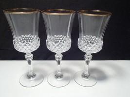 3 CRISTAL d'ARQUES VALENCAY GOLD RIM WINE GOBLETS~~ - $19.99