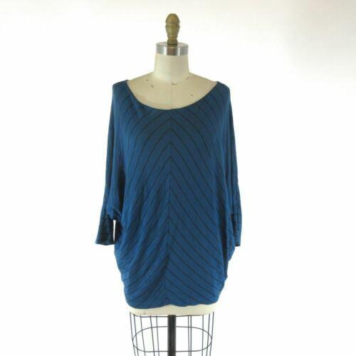 S - Velvet Blue & Black Chevron Patterned Knit Slouchy Fit Shirt Top 0921KW