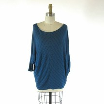S - Velvet Blue & Black Chevron Patterned Knit Slouchy Fit Shirt Top 0921KW - $26.00