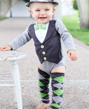 Boxed Gift Set--Long Sleeve Tuxedo Lime Green-6-12 Months - $40.27