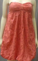 Coral colored floral strapless dress - $9.90