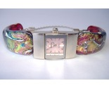 Pink Breast Cancer Awareness Watch Fused Dichroic Glass Band Bracelet Wristwatch