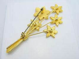 Yellow Orange Enamel Flower Bouquet Gold Tone Pin Brooch Vintage image 5