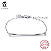 ORSA JEWELS Women Real 925 Sterling Silver Bracelets Long Bar Lobster-cl... - $53.79