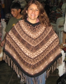 Embroidered poncho from Peru made of Alpaca wool