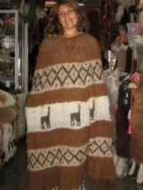 Folklorical poncho, outerwear, natural alpaca wool  - $144.00