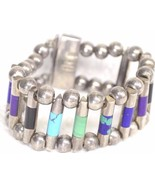 Bracelet .950 sterling turquoise lapis sugilite onyx malachite Mexico Taxco - $346.49
