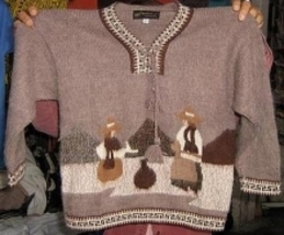 Folklorical Sweater, v-neck, embroidered Alpaca Wool - $78.00