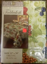 "VINYL FLANNEL BACK Tablecloth, 52"" x 70"" Oblong (4-6 ppl), FRUITS on gre... - $15.83"