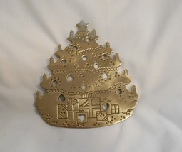 Vintage Lillian Vernon Brass Christmas Tree Trivet - $12.99