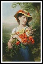 Girl with Bouquet of Wild Flowers cross stitch chart Artecy Cross Stitch Chart - $14.40