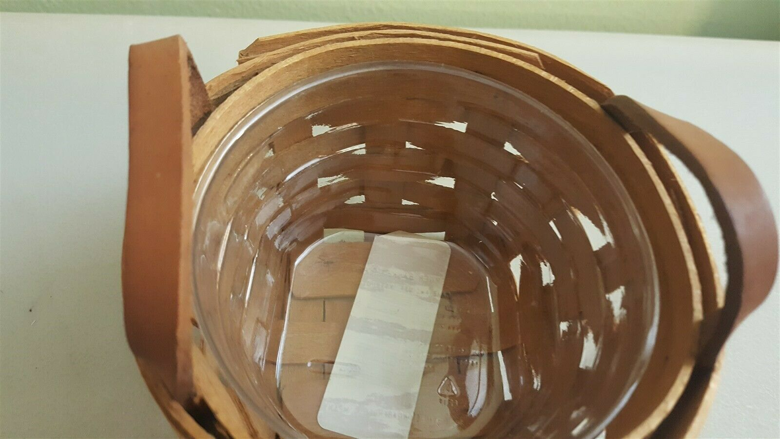 Longaberger 1995 Thyme Booking Basket Leather Strap Handles 19003 With Protector