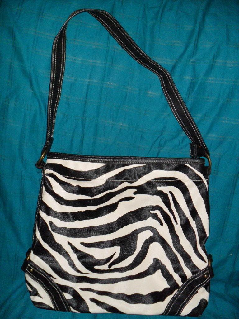 Black Large Zebra Print Faux Leather Satchel Bag/Handbag Purse/Unbranded
