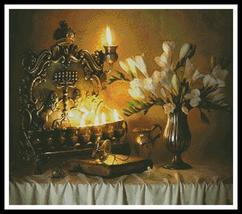 Hannukah With Flowers holiday cross stitch chart Artecy Cross Stitch Chart - $14.40