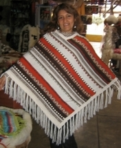 Poncho made of pure Alpaca wool hand-embroidery, outerwear - $125.00