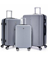 3 Piece Spinner Luggage Set ABS Hardcase Rolling Lightweight Suitcase Si... - $202.93