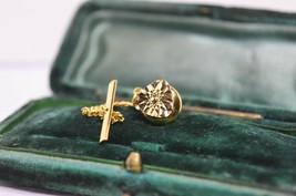 Vintage Gold lapel pin art deco theme with diamond cut style #L25 - $12.16