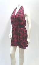 Red and Black Modern Print Halter Mini Dress Tunic Top by Guess  - $46.99