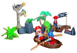 Playmobil LOT Pirate Stronghold 5808 5809 3 Pirates Cannon Skull-Tree Pe... - $17.95