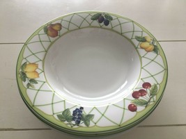 Set Of 4 Mikasa Optima Fine China Fruit Rapture Rimmed Soup Bowls Euc - $23.76