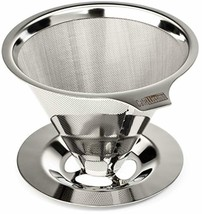 Paperless Pour Over Coffee Maker, 18\8 (304) Stainless Steel Reusable Dr... - $25.16