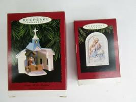 2 Hallmark Christmas Ornaments Jesus He Is Born Nativity Come All Ye Fai... - £14.88 GBP