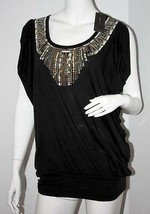 BCBG Max Azria BLACK Goddess TOP Shirt EMBROIDERED Scoop Neck BEADED M $118 - $89.97