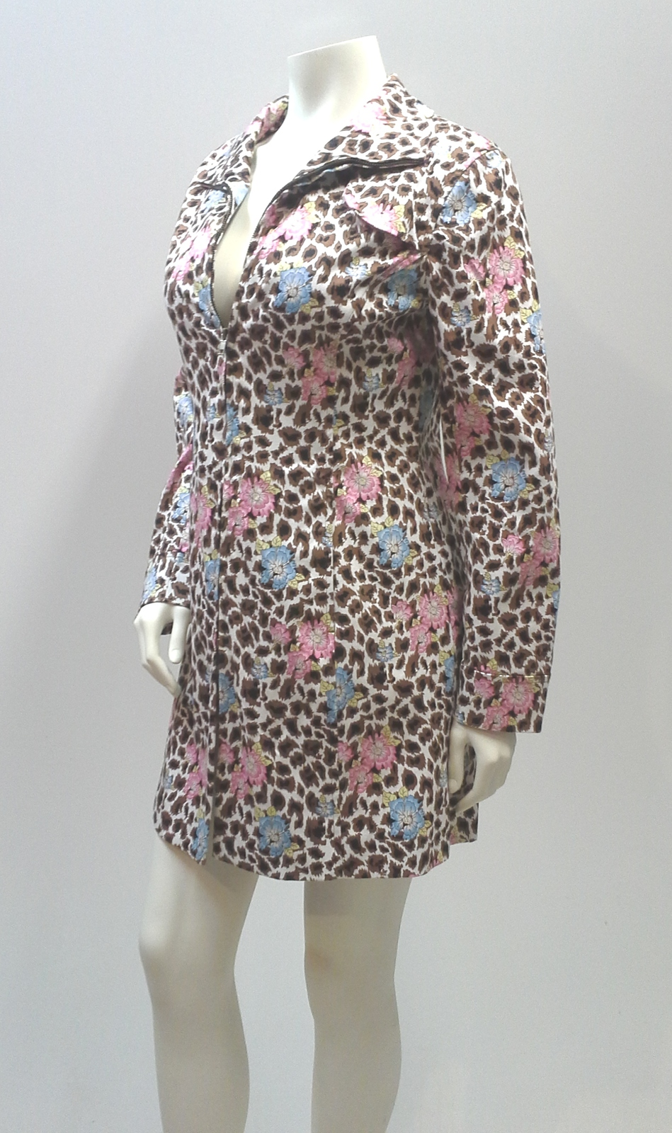 Primary image for Nicole Miller Coat, Animal Print Floral Cotton Short Trench Coat-Size Small