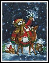 The Snow Gatherers snowman holiday cross stitch chart Artecy Cross Stitch Chart - $14.40