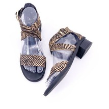 Circus Sam Edelman Eva Sz 6 Animal Tiger Print Calf Hair Criss Cross Sandals - $19.75