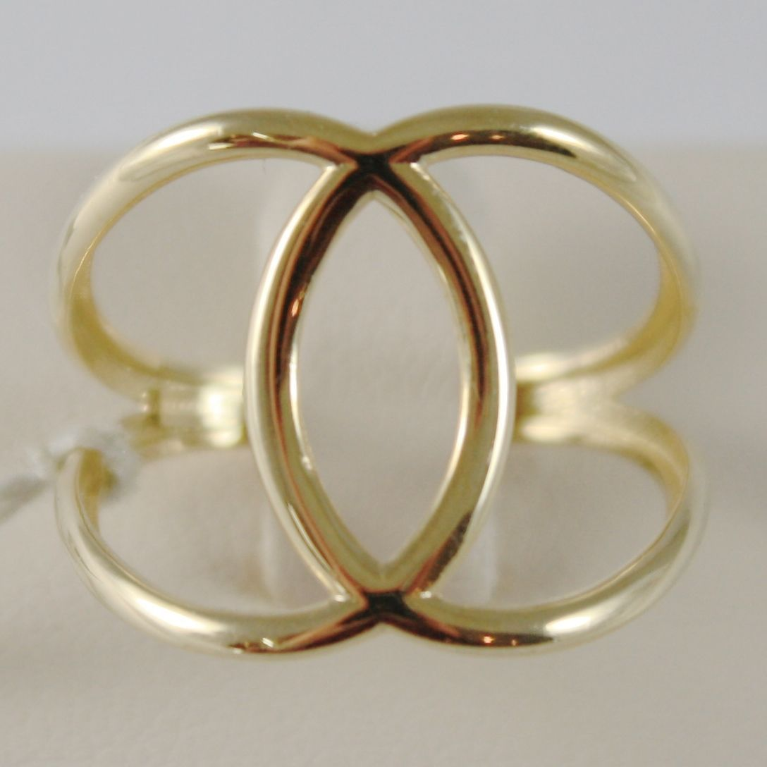 SOLID 18K YELLOW GOLD BAND DOUBLE HUG WIRES RING LUMINOUS SMOOTH, MADE IN ITALY