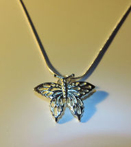 Pretty Silver Filigree Butterfly Pendant w/Chain  - $12.00