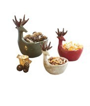 Deer Design Snack Bowls Holiday Christmas Trinket Chips Multicolored 3 P... - £127.38 GBP