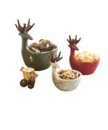 Deer Design Snack Bowls Holiday Christmas Trinket Chips Multicolored 3 P... - £126.61 GBP