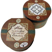 Round Elegant Music Box 6x6x3.5 hardanger cross stitch box  - $30.00
