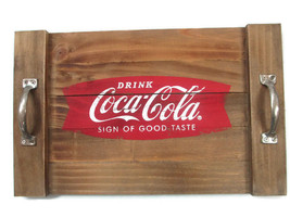 Coca-Cola Wood Serving Tray with Metal Handles Drink Coca-Cola  - BRAND NEW - £22.31 GBP