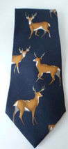 Mens Deer Neck Tie Field & Stream 100% Silk Made in USA Blue Deer Buck H... - $8.77