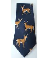 Mens Deer Neck Tie Field & Stream 100% Silk Made in USA Blue Deer Buck H... - $8.77