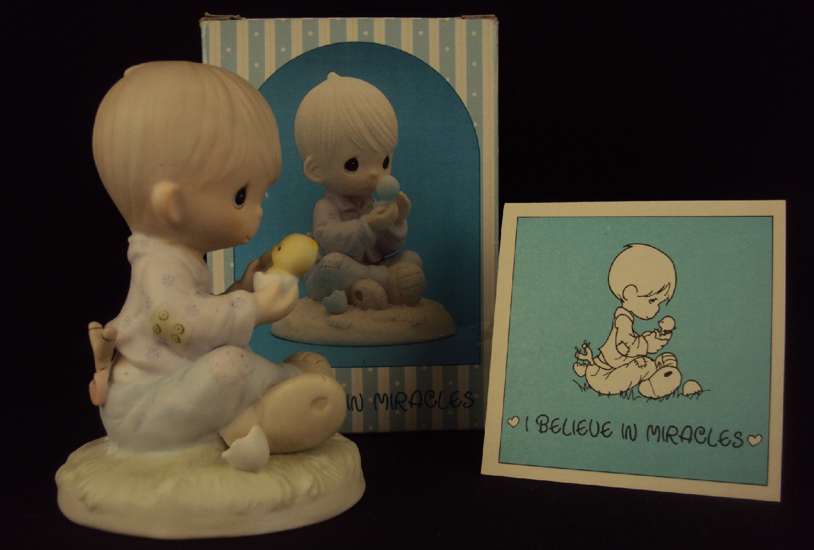 Primary image for Precious Moments Figurine, #E-7156, I Believe In Miracles, Hourglass Mark, 1981