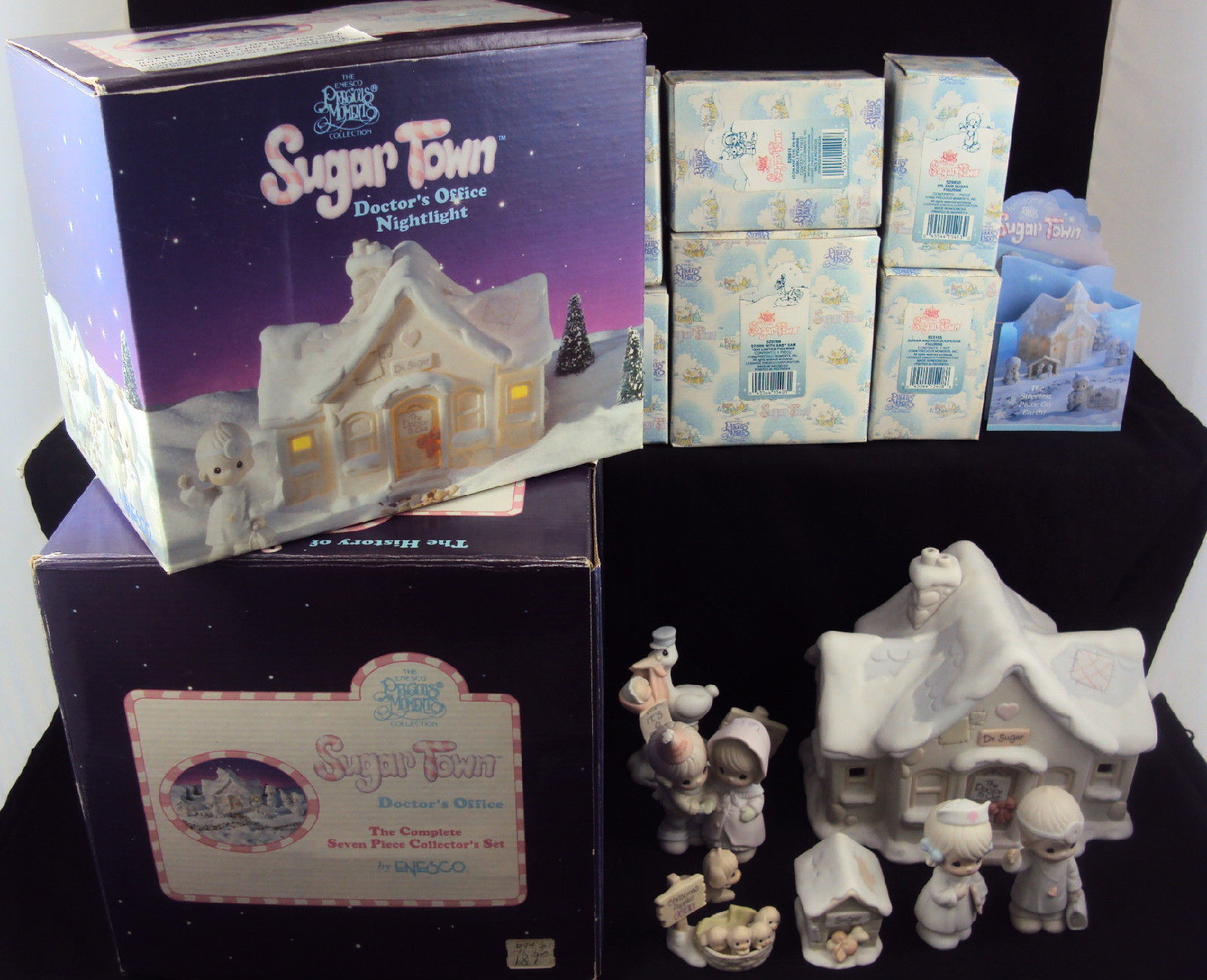 Primary image for Precious Moments NIGHT LIGHT ~ Sugar Town Doctor's Office ~ Complete Set w/Boxes