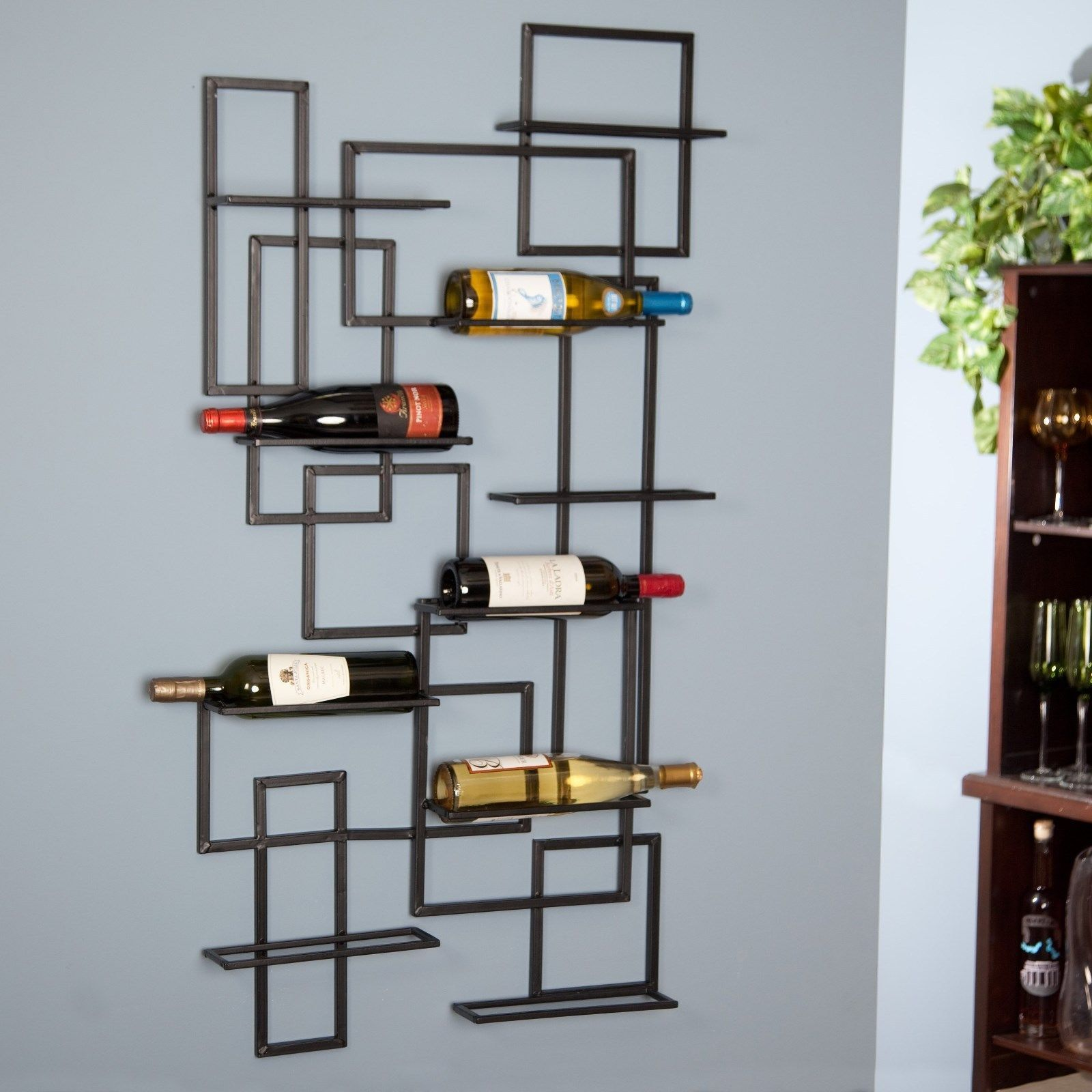 Primary image for Metal Industrial 10 Bottle Wall Mount Sculpture Wine Display Storage Rack Decor