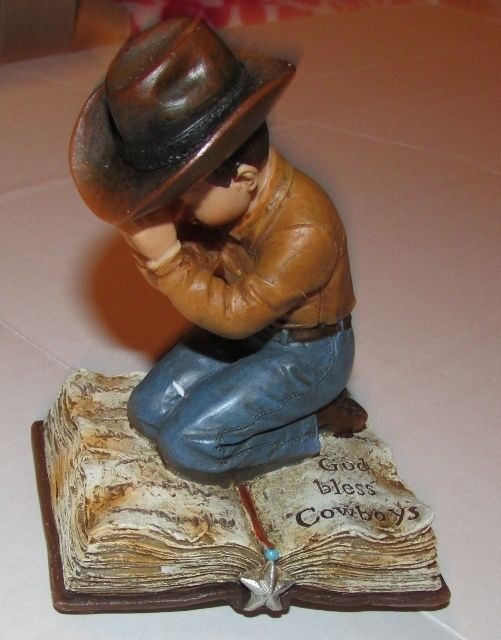 Primary image for God Bless Cowboys Figurine Bookend Little Cowboy Bible Prayer Western NEW